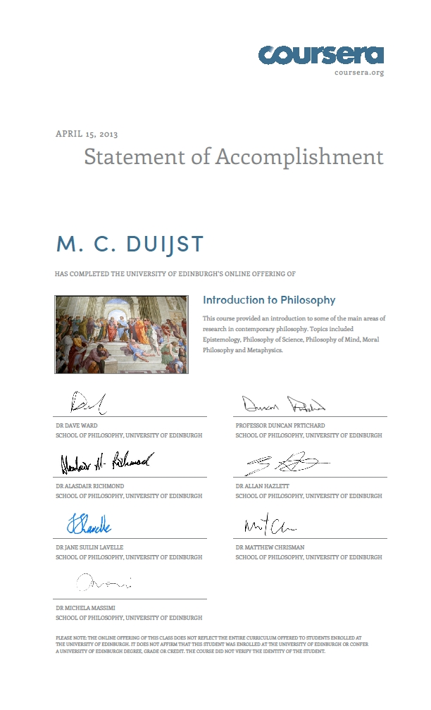Coursera Certificate Introduction To Philosophy Marianne Duijst